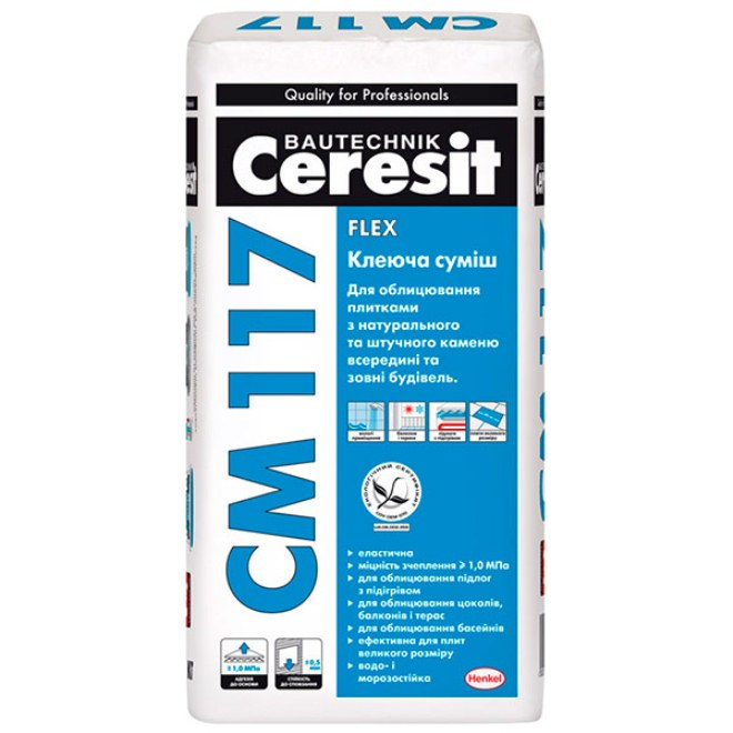 Плиточный клей Ceresit: разновидности и особенности