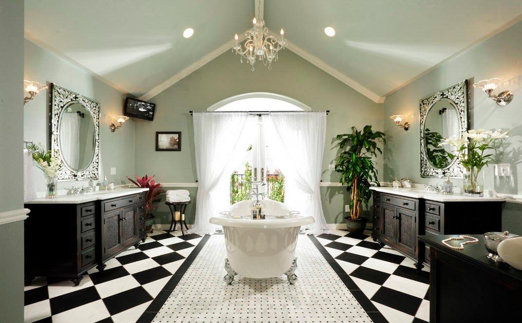 Чередование черных и белых плиток в ванной 2