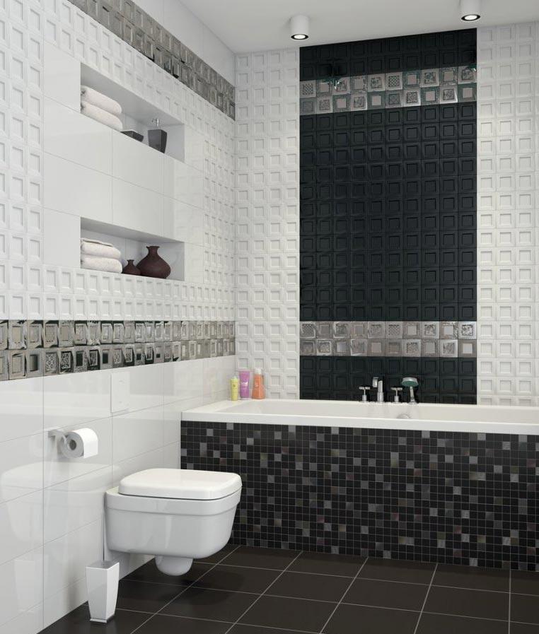 черная мозаика в ванной