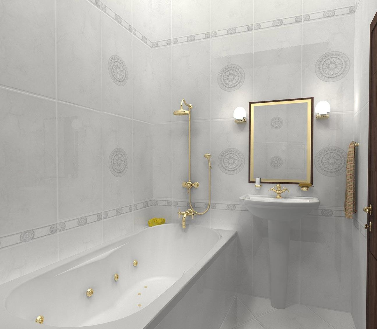 дизайн плитки в маленькой ванной 12