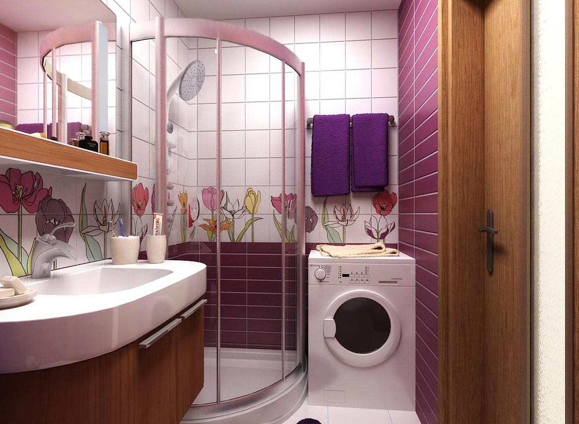 дизайн плитки в маленькой ванной 13