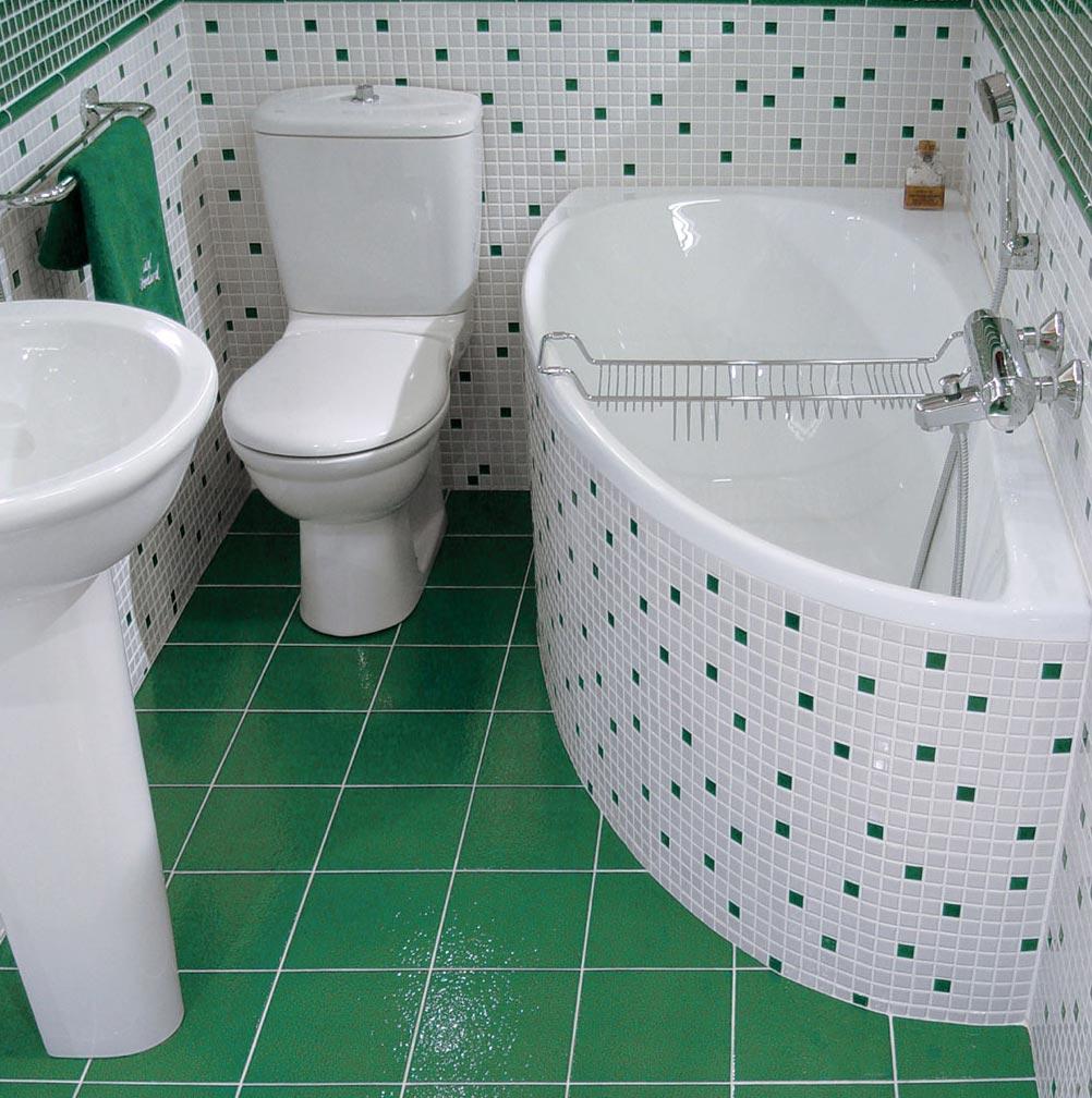 дизайн плитки в маленькой ванной 2