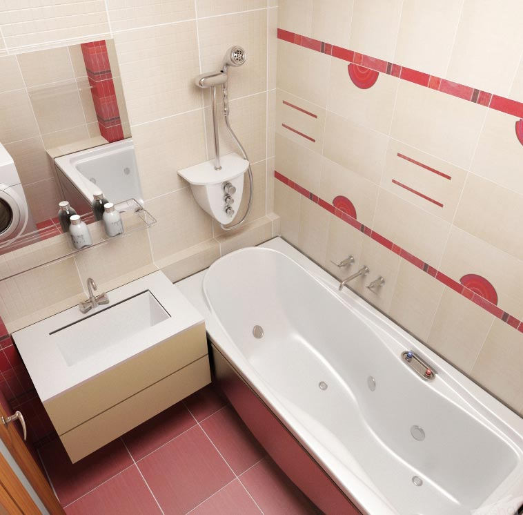 дизайн плитки в маленькой ванной 4