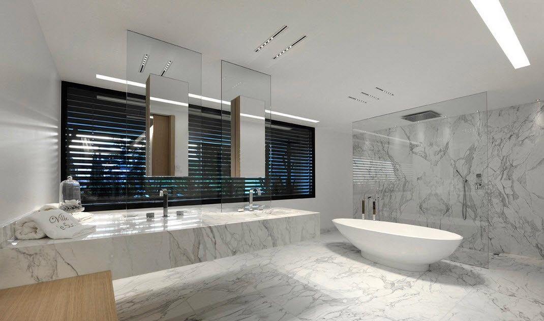 Дизайн ванной комнаты, выполненной из мрамора