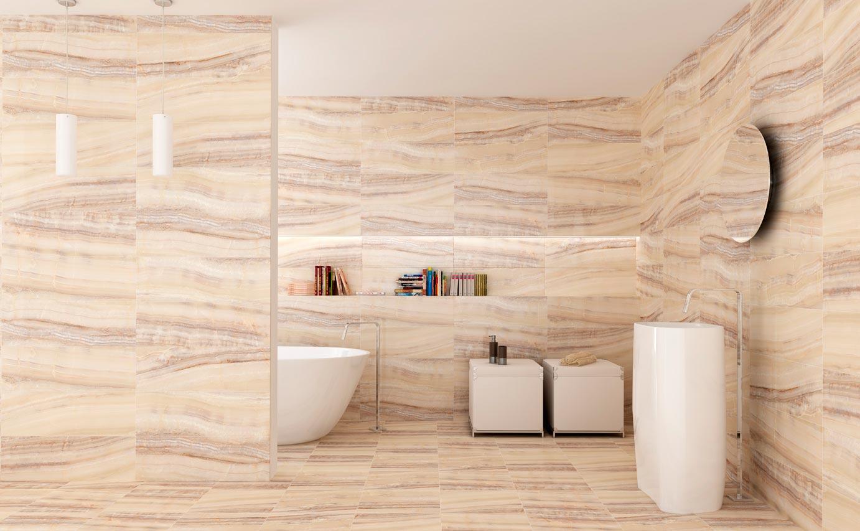 Дизайн ванной под бежевый мрамор 2