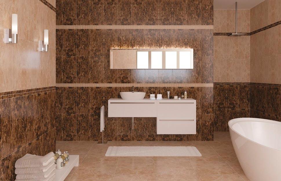 Дизайн ванной под бежевый мрамор