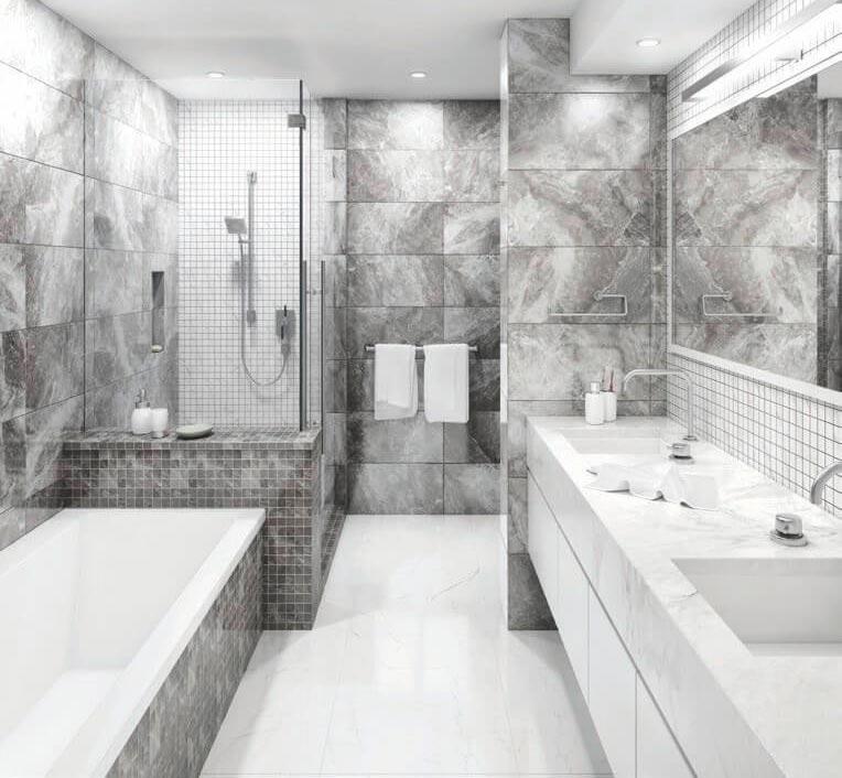 Какой цвет выбрать для плитки под мрамор в ванной 3