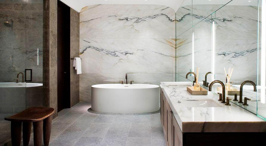 Какой цвет выбрать для плитки под мрамор в ванной 7