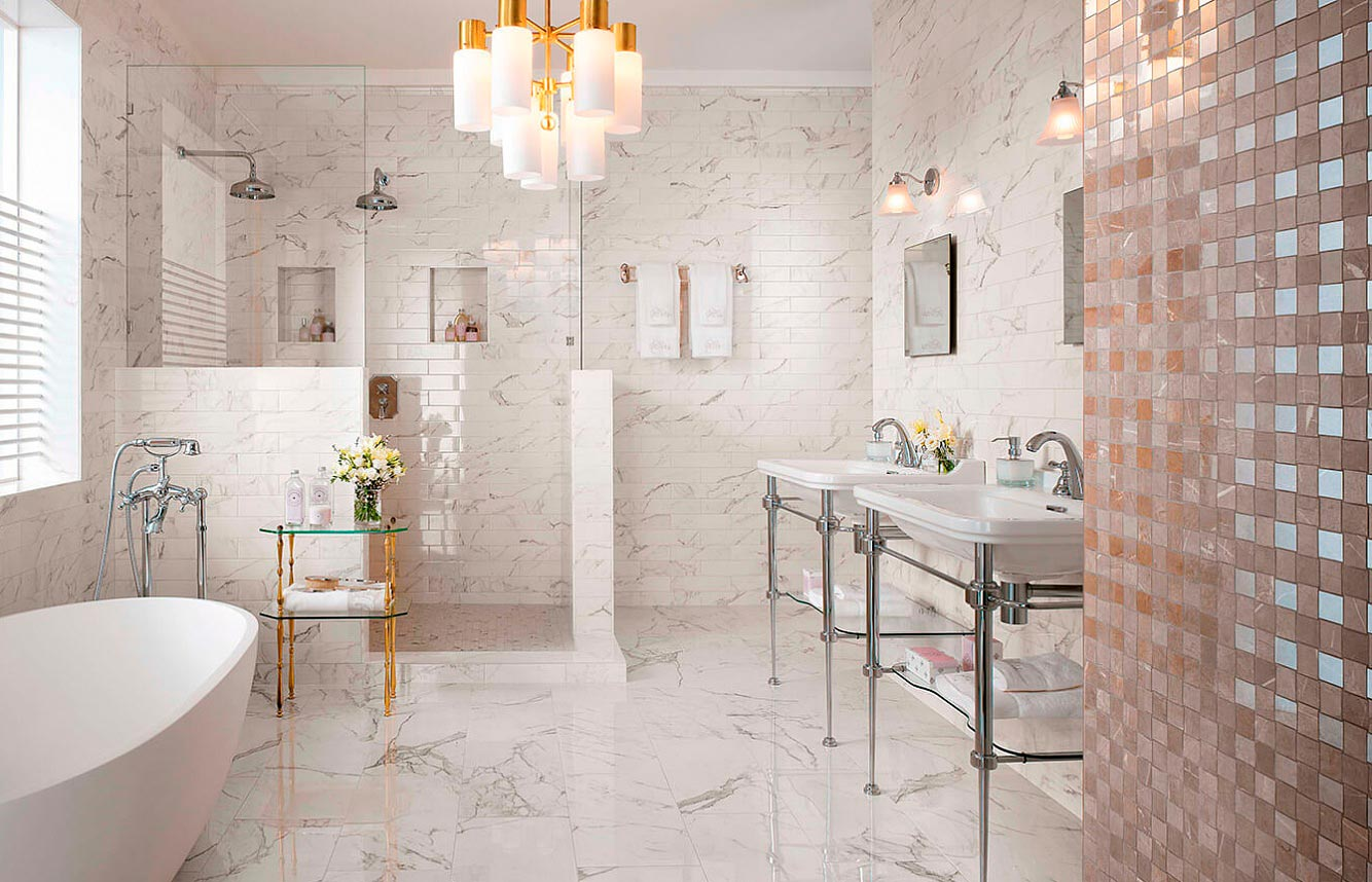 Какой цвет выбрать для плитки под мрамор в ванной
