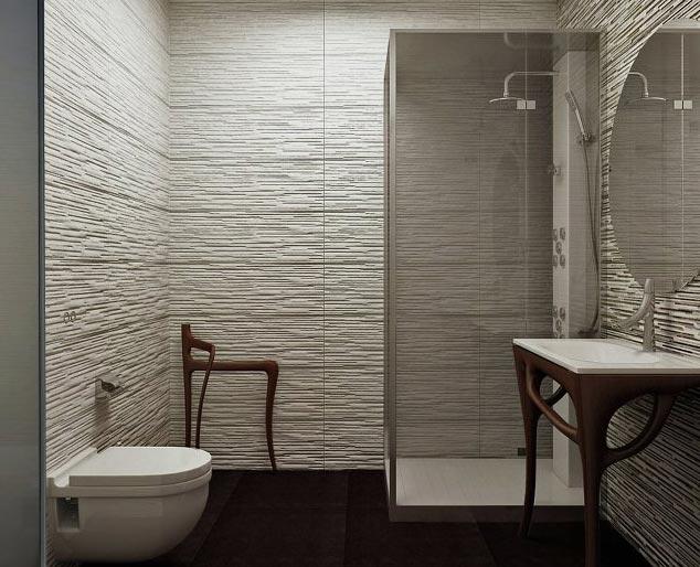 керамическая плитка, имитирующая камень в ванной
