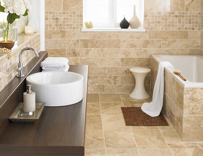 керамическая плитка под камень в ванной-дизайн