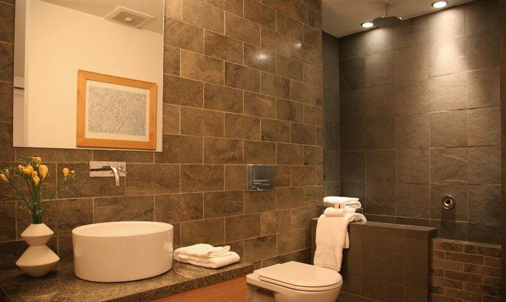 керамическая плитка под камень в ванной