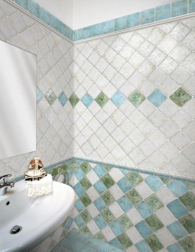 маленькая ванная диагональная раскладка