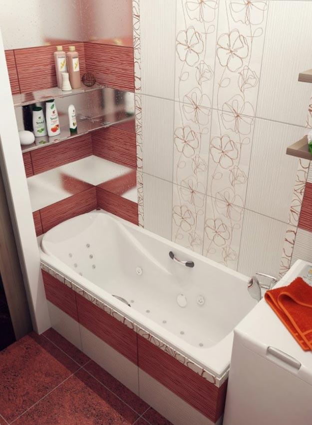 маленькая ванная в традиционном цвете