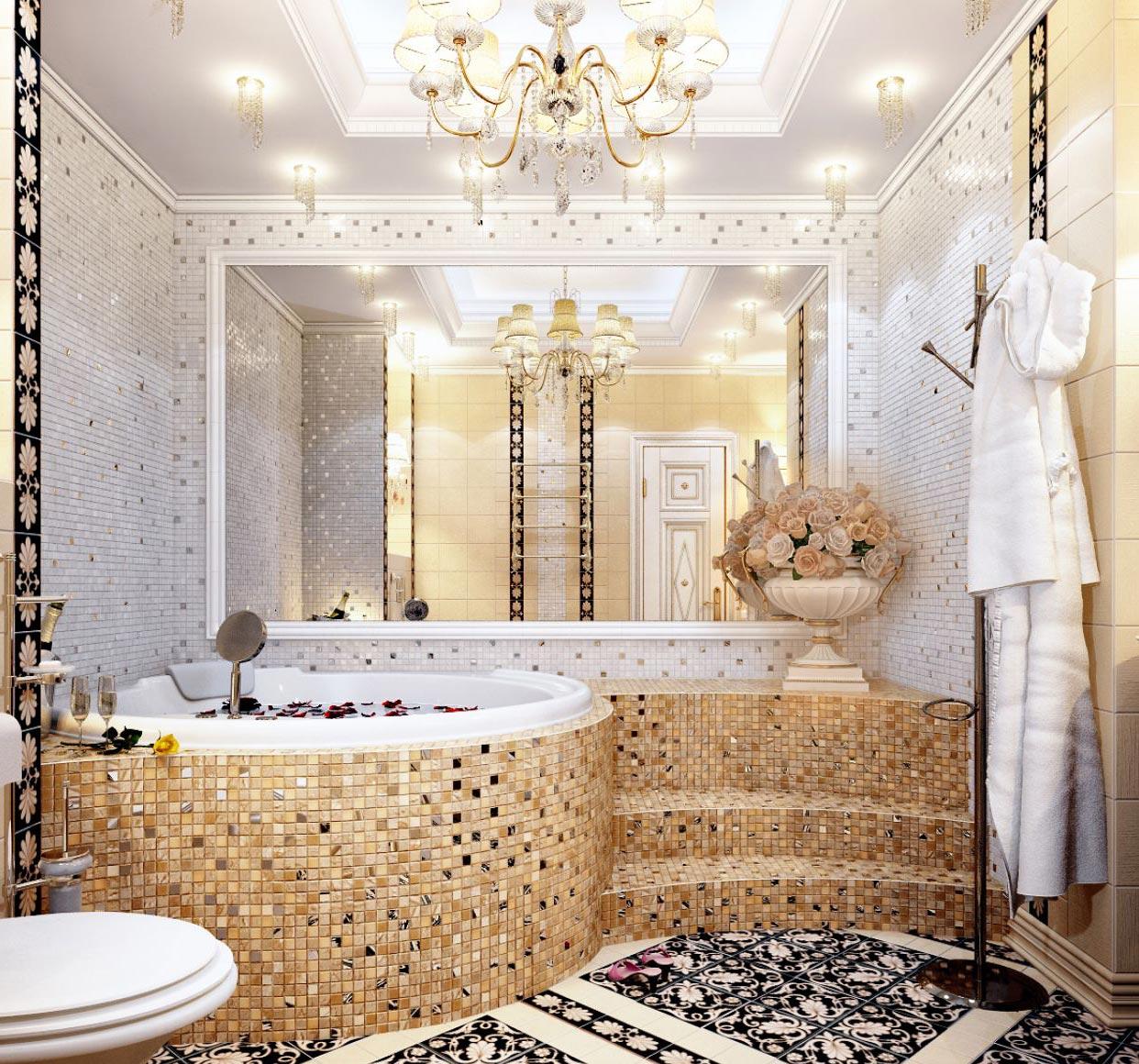 мозаика в большой ванной дизайн