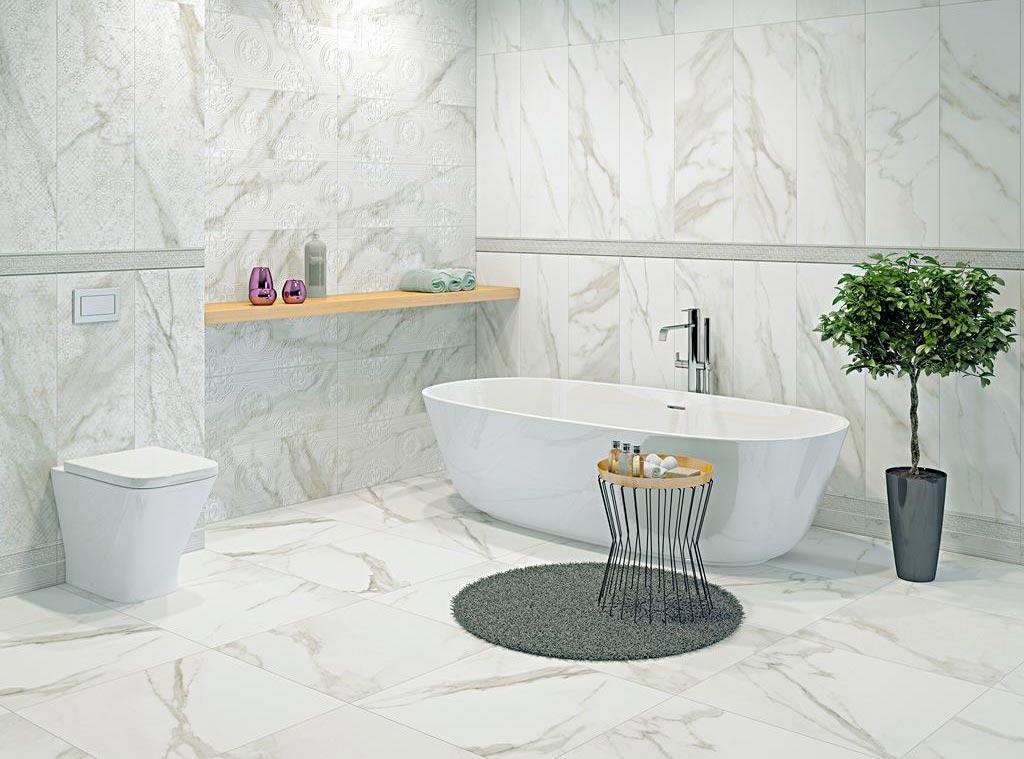 Недостатки плитки под мрамор в ванной 2