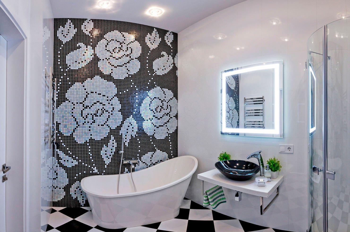 Освещение для ванной комнаты в черно-белых тонах 2