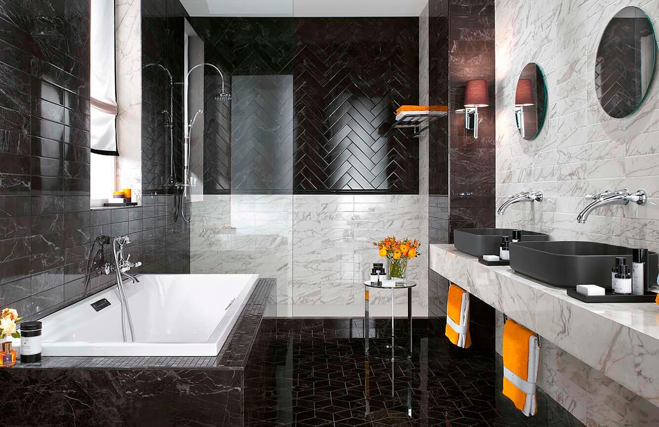 Отделка стен в ванной комнате мрамором: интересные идеи для интерьера 2