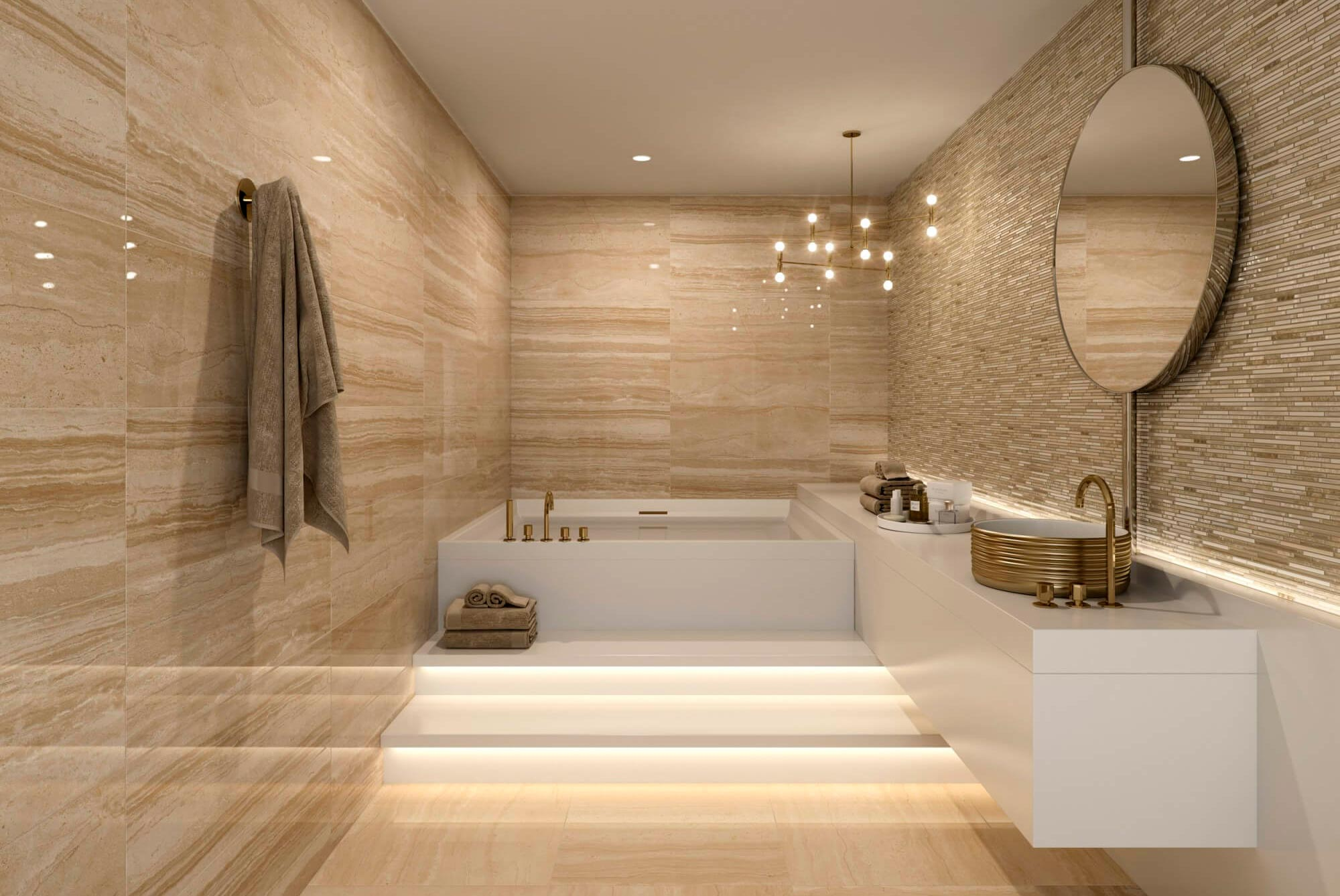 Отделка стен в ванной комнате мрамором: интересные идеи для интерьера