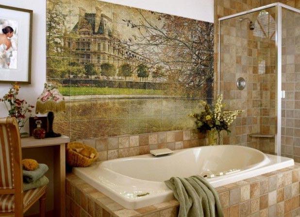 панно из плитки в ванной