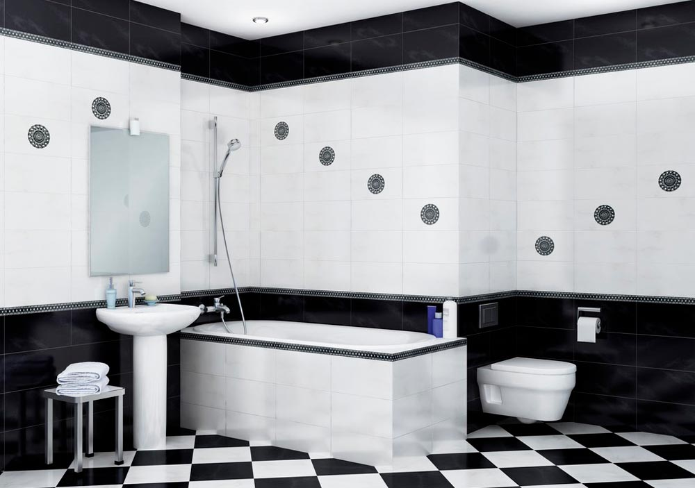Пол из черно-белых плиток в ванной 4
