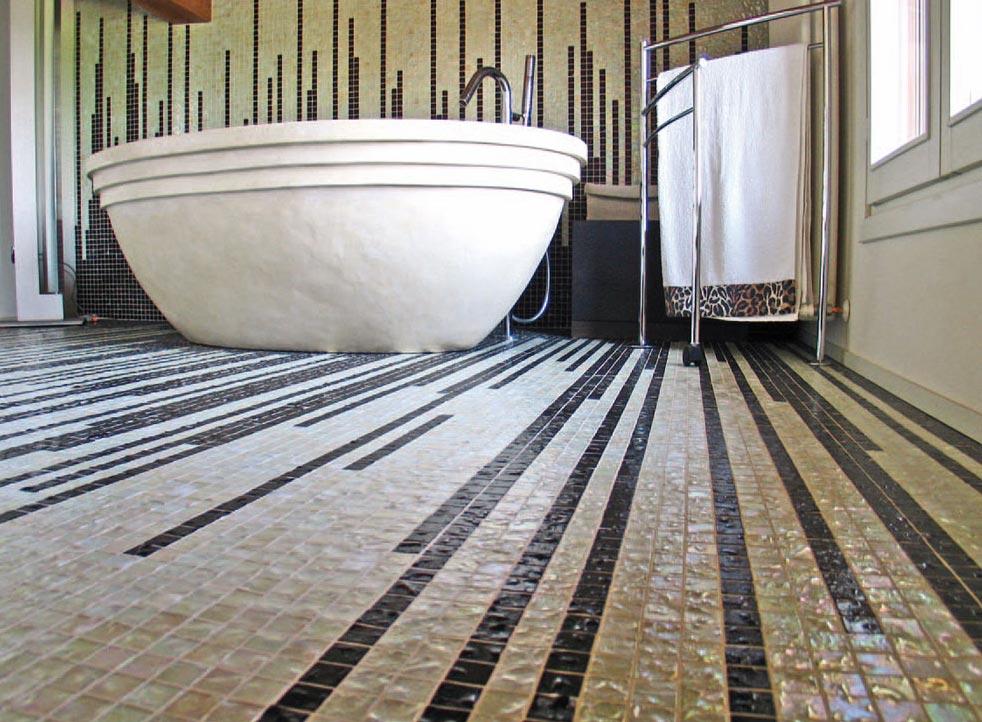 пол в ванной мозаика