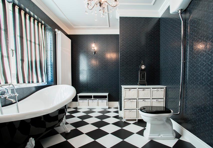 Секреты правильного сочетания черных и белых плиток в ванной 4