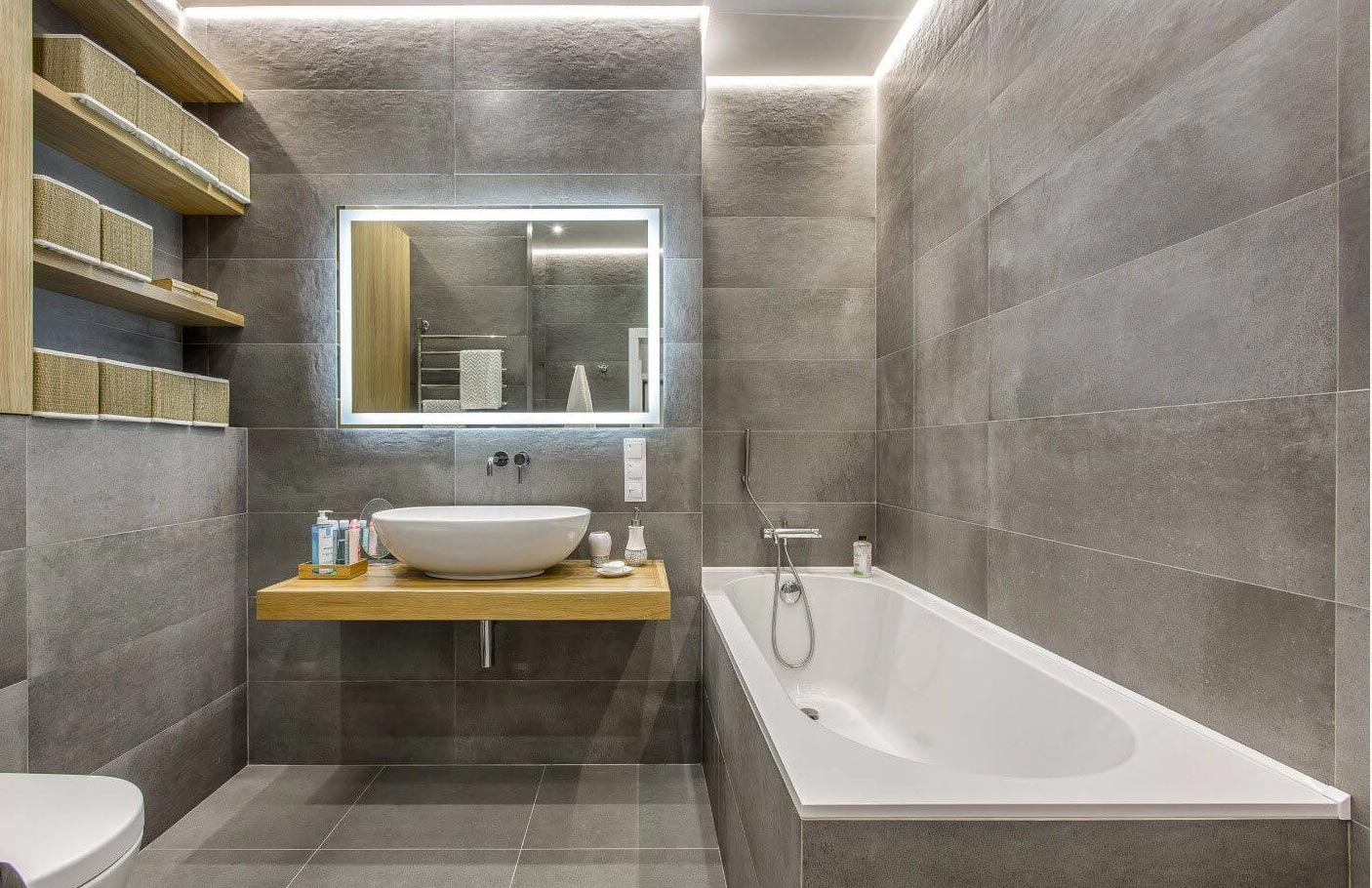 серая ванная в современном стиле