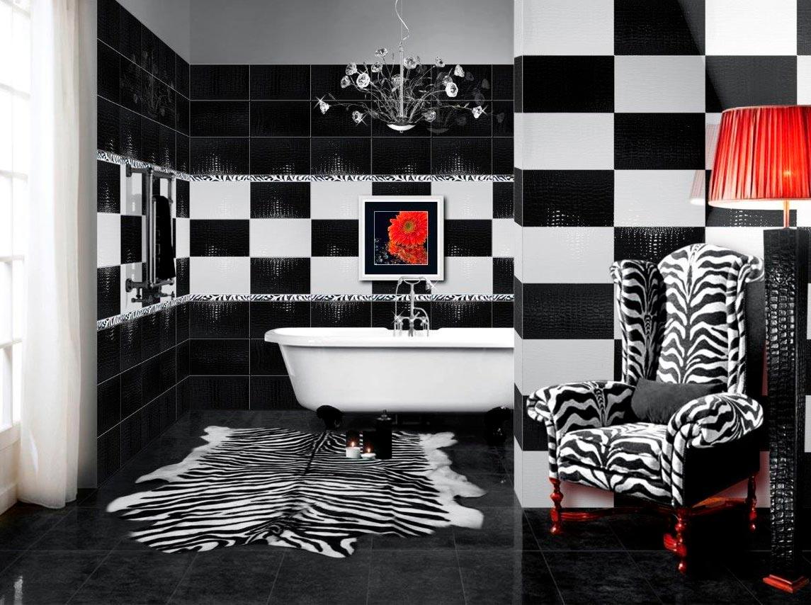 Варианты дизайна черно-белой ванны 10
