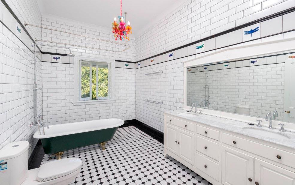 Варианты дизайна черно-белой ванны 11
