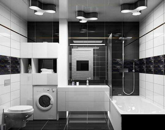 Варианты дизайна черно-белой ванны 18