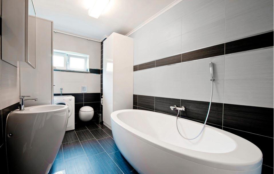 Варианты дизайна черно-белой ванны 19