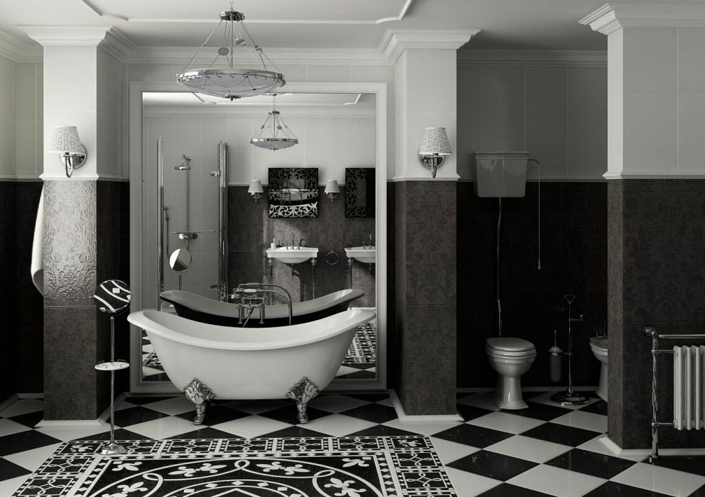 Варианты дизайна черно-белой ванны 21