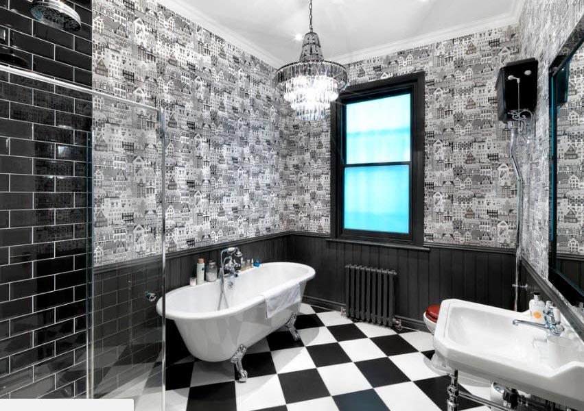 Варианты дизайна черно-белой ванны 22