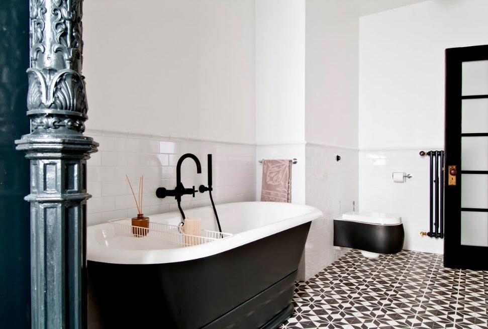 Варианты дизайна черно-белой ванны 24