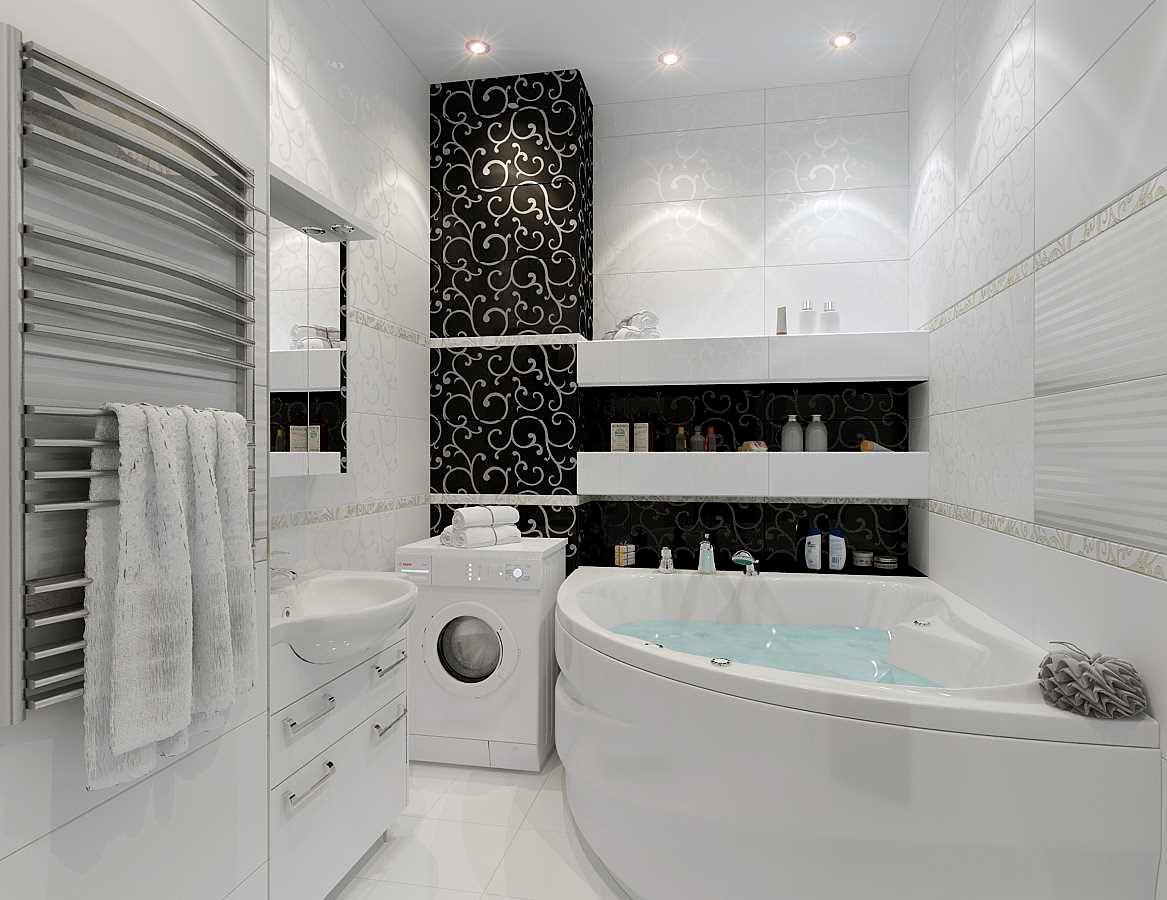 Варианты дизайна черно-белой ванны 25