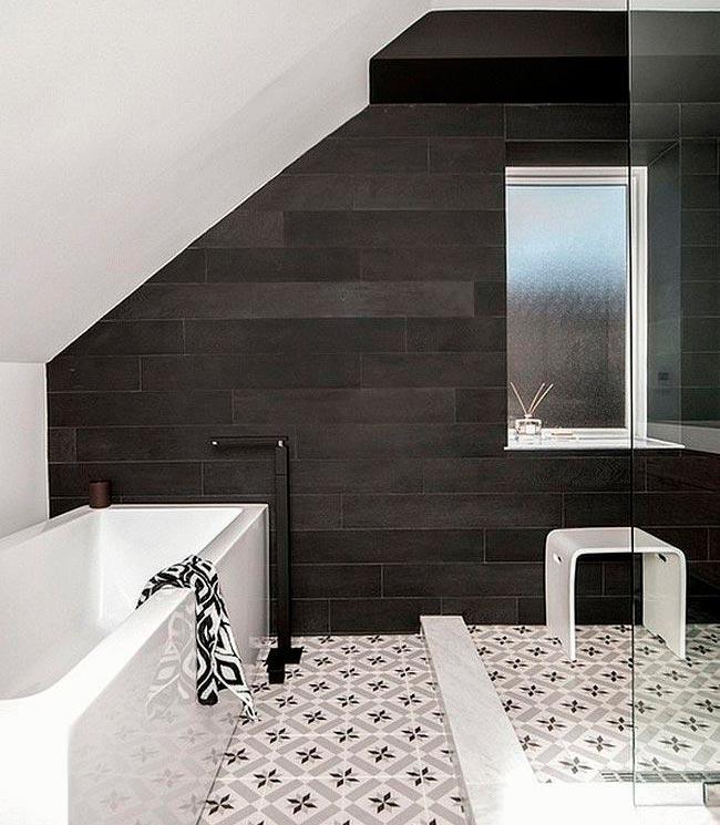 Варианты дизайна черно-белой ванны 28