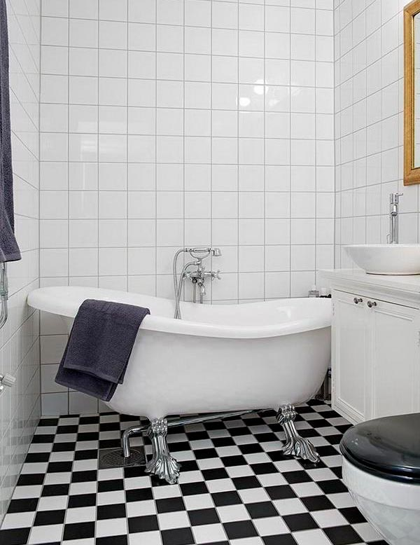 Варианты дизайна черно-белой ванны 30