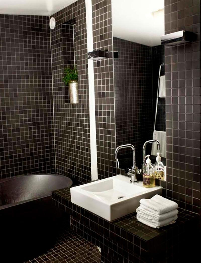 Варианты дизайна черно-белой ванны 32