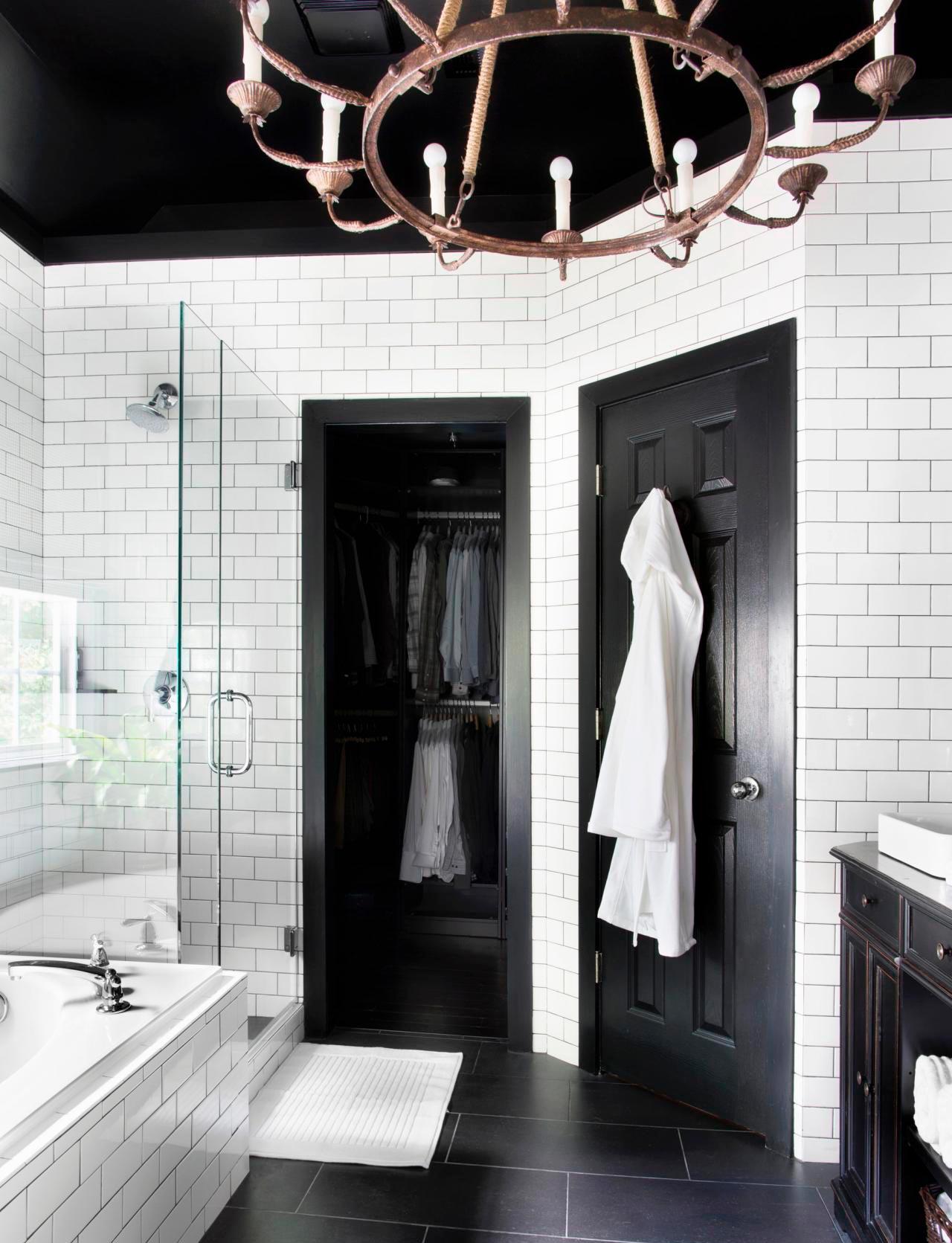 Варианты дизайна черно-белой ванны 35