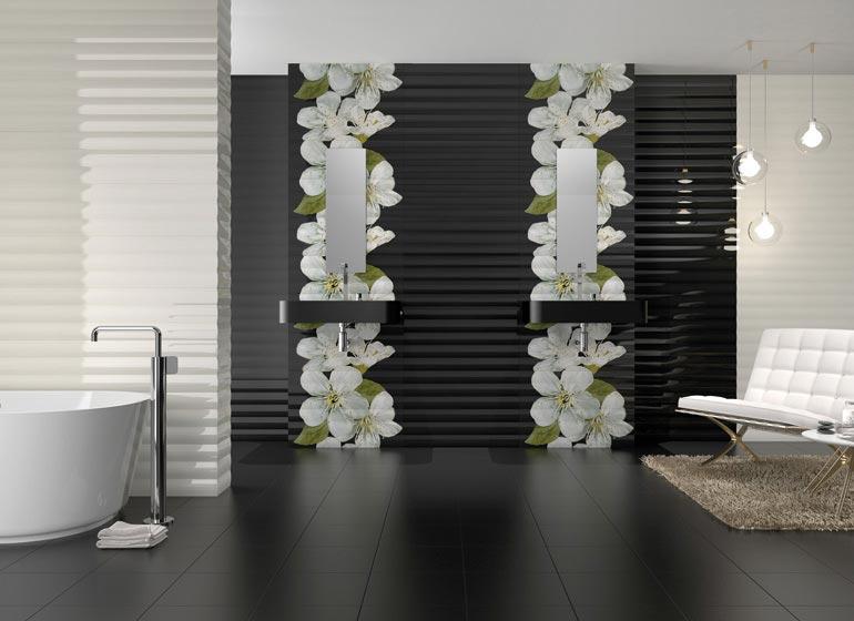 Варианты дизайна черно-белой ванны 36