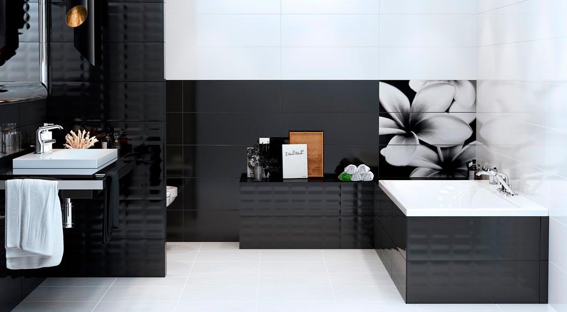 Варианты дизайна черно-белой ванны 37