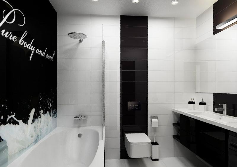 Варианты дизайна черно-белой ванны 4