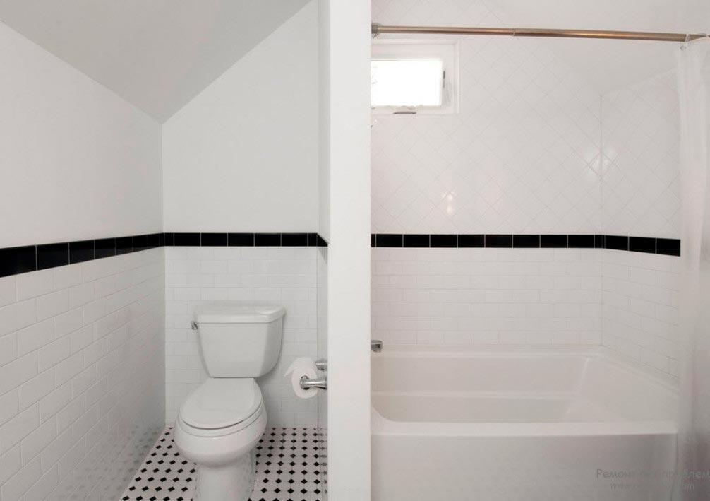 Варианты дизайна черно-белой ванны 43