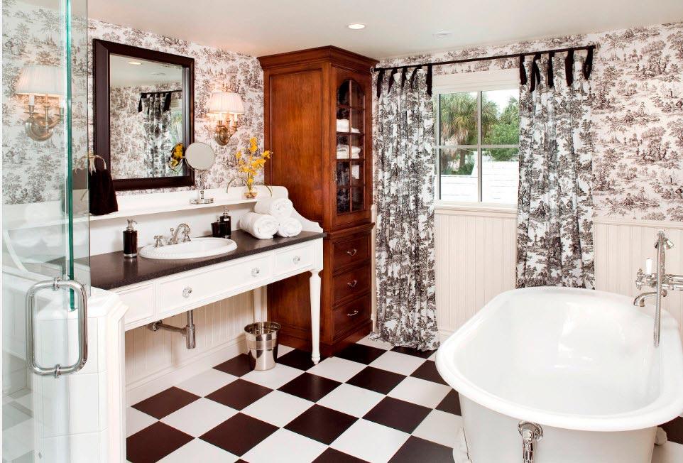 Варианты дизайна черно-белой ванны 44