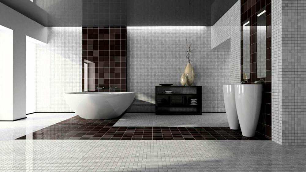 Варианты дизайна черно-белой ванны 49
