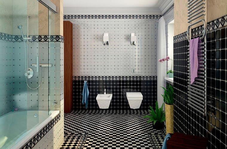 Варианты дизайна черно-белой ванны 50