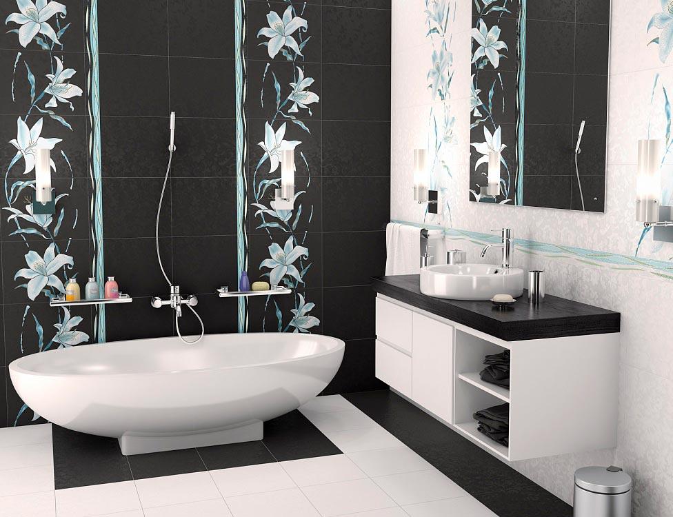 Варианты дизайна черно-белой ванны 53