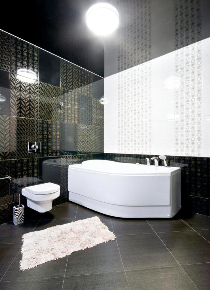 Варианты дизайна черно-белой ванны 55