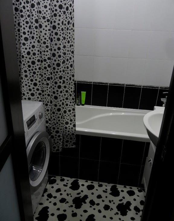 Варианты дизайна черно-белой ванны 56